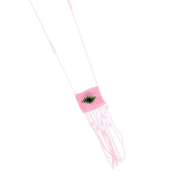 84313 # Μακρύ Κολιέ με Πλεχτό Μάτι και Χάντρες χρ. Ροζ