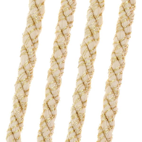 Art 404 Κορδονέτο Νήμα 10 mm με Χρυσή Λούρεξ Κλωστή χρ. Εκρού # 28