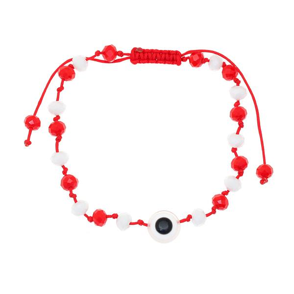 6310 # Βραχιόλι Μακραμέ Μάρτης με Κρυστάλλινες Χάντρες και Ματάκι χρ. Κόκκινο / Λευκό