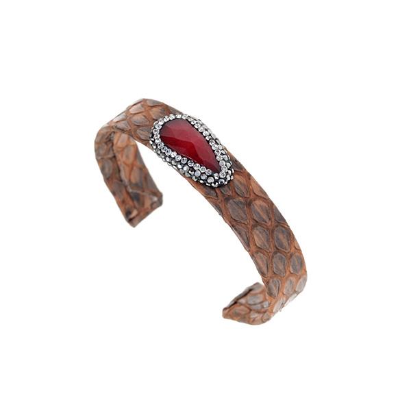 Hn 049 Βραχιόλι από Δέρμα Πύθωνα με Ημιπολύτιμη Πέτρα και Στρας χρ. Ταμπά # 02