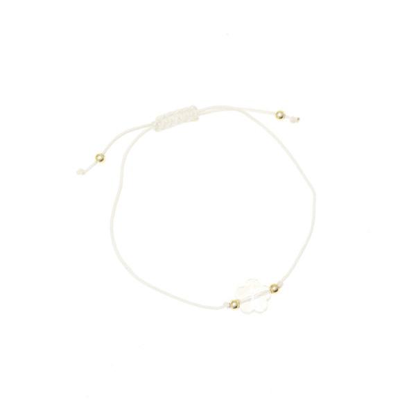 6110 - 3 # Βραχιόλι Μακραμέ με Κρυστάλλινη Μαργαρίτα χρ. Λευκό