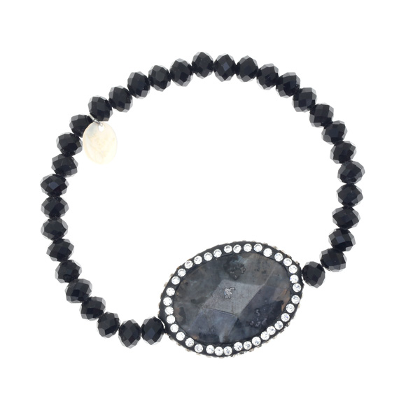 It 9600231 # Ελαστικό Βραχιόλι με Κρυστάλλινες Χάντρες Πέτρα Αχάτη και Στρας χρ. Μαύρο