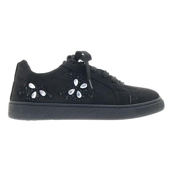 1707 # Σουέτ Sneakers με Στρας χρ. Μαύρο