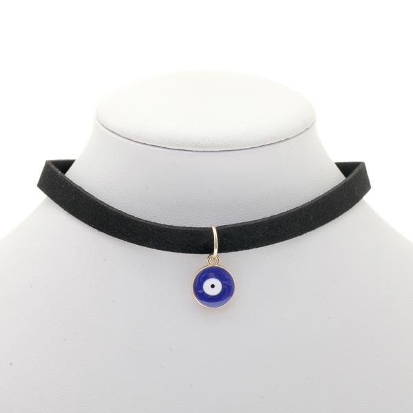 989010 # Τσόχινο Τσόκερ με Στρογγυλό Μάτι χρ. Μπλε / Μαύρο