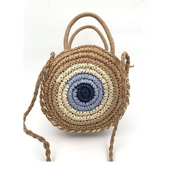 JK 12 - Λινή Ριγέ Τσάντα Παραλίας Μάτι χρ. Μπλε Ελεκτρίκ