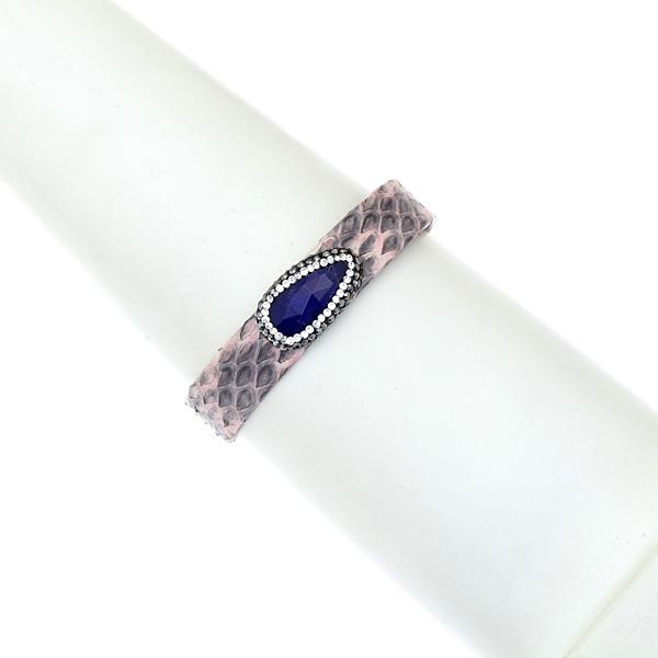 Hn 049 Βραχιόλι από Δέρμα Πύθωνα με Ημιπολύτιμη Πέτρα και Στρας χρ. Γκρι Ροζ # 03