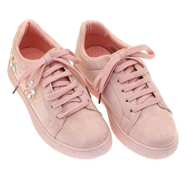 1707 # Σουέτ Sneakers με Στρας χρ. Ροζ