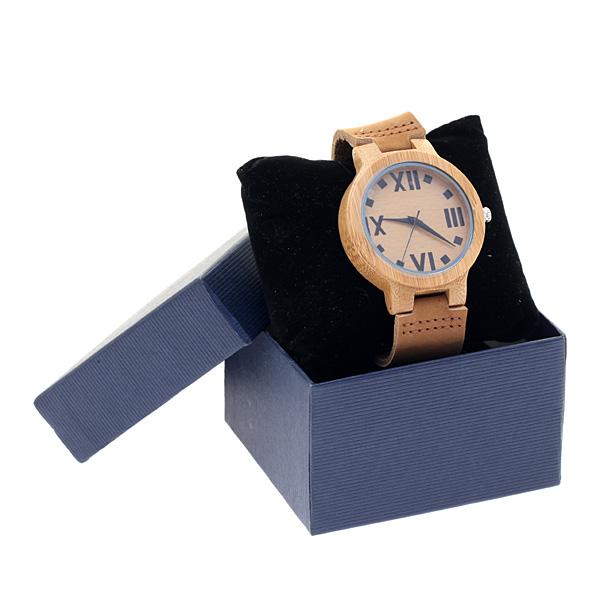 708019 - 100 # Ξύλινο Ρολόι με Δερμάτινο Λουράκι χρ. Ταμπά
