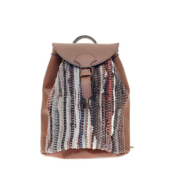 c03e347074 Art 2 Τσάντα Πλάτης από Κουρελού και Δέρμα Βακέτα χρ. Ταμπά