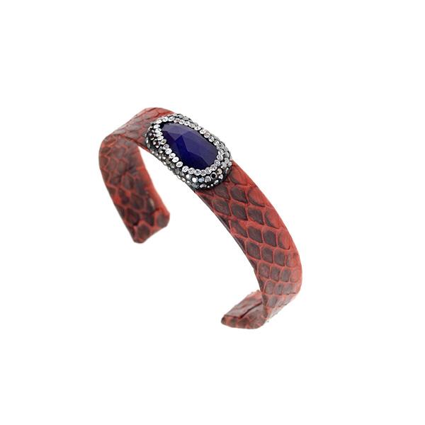 Hn 049 Βραχιόλι από Δέρμα Πύθωνα με Ημιπολύτιμη Πέτρα και Στρας χρ. Κεραμιδί # 03