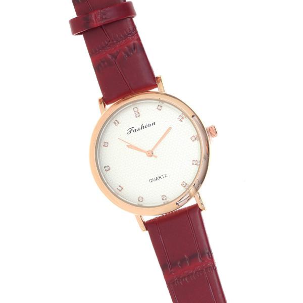 Fashion C 12 # Γυναικείο Ρολόι Κροκό με Στρας χρ. Μπορντώ