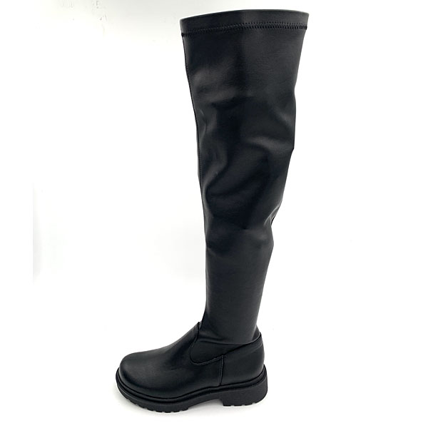 680 - Ψηλές Μπότες Γονάτου από Συνθετικό Δέρμα χρ. Μαύρο (Χειμώνας 2020 - 2021)