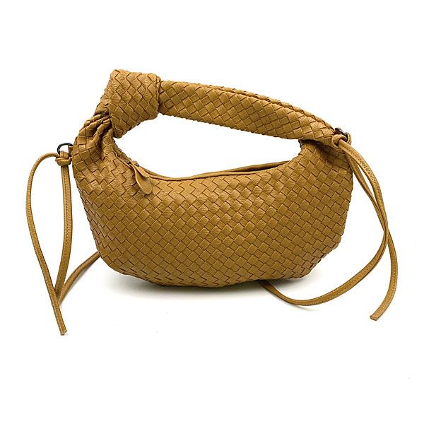 Β 816 - Μικρή Πλεκτή Τσάντα Ώμου χρ. Μουσταρδί