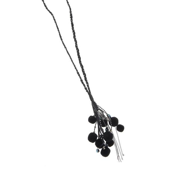 It 113 Ιταλικό Κολιέ με Πομ Πομ και Κρυστάλλινες Χάντρες # 01